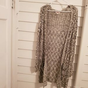 Long black and white knit cardigan